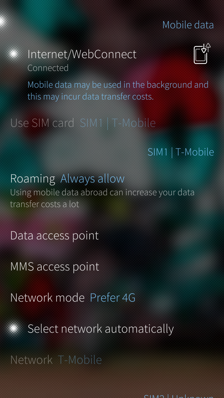 Mobile Data APN settings
