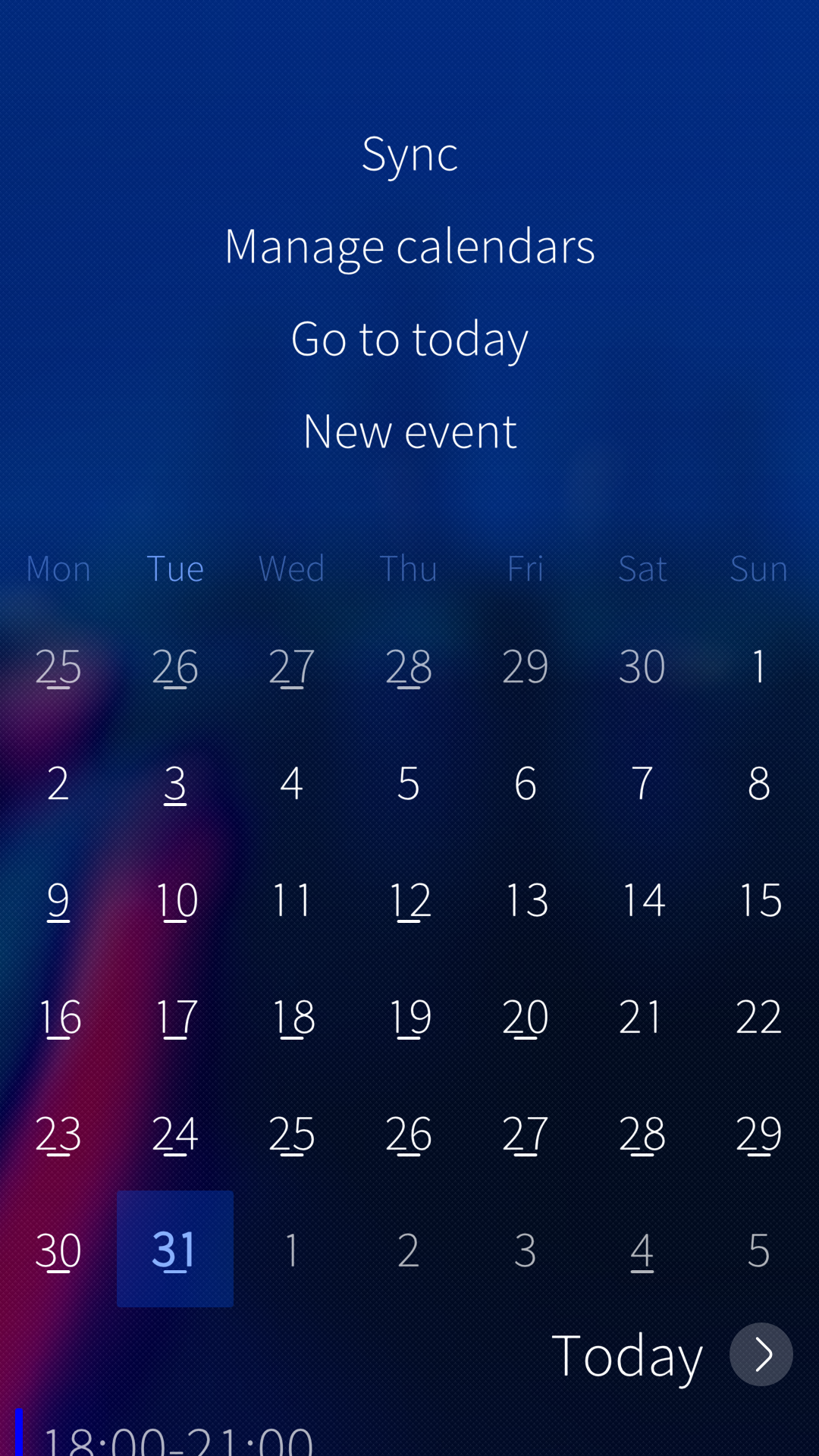 Calendar sync option pulley menue